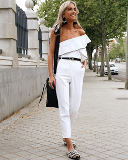 Zara Off White Asymmetric Frilled Top