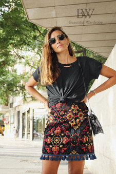 Zara Jacquard Skirt With Pom Poms