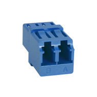 LC-LC Fiber Optic Square Mount Duplex Adapter in Blue with Ceramic Sleeve