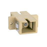 SC-SC Fiber Optic SC Mount Simplex Adapter in Beige with Metal Sleeve