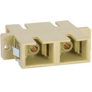 SC-SC Fiber Optic SC Mount Duplex Adapter in Beige with Metal Sleeve