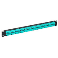 LC-LC Fiber Optic Patch Panel Pre-loaded with 96 10G Aqua Fibers