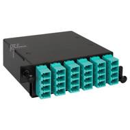 LC-MPO Fiber Optic HD Cassette with Aqua Multimode Adapters and 24 10G OM3 Fibers