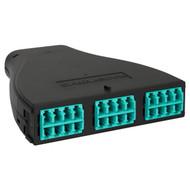 LC-MPO Plastic Fiber Optic HD Cassette with Aqua Multimode Adapters and 24 10G OM3 Fibers