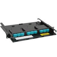 LC-MPO Fiber Optic Rack Mount Enclosure Pre-configured with 3 Cassettes with 72 10G Aqua Fibers
