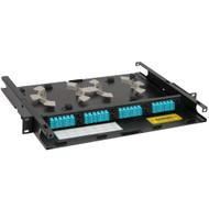 LC-LC Fiber Optic Rack Mount Enclosure Pre-configured with 4 HD Adapter Panels with 96 10G Aqua Fibers