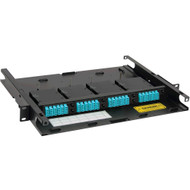LC-MPO Fiber Optic Rack Mount Enclosure Pre-configured with 4 HD Cassettes with 96 10G Aqua Fibers