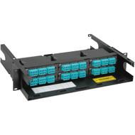 LC-MPO Fiber Optic Rack Mount Enclosure Pre-configured with 6 Cassettes with 144 10G Aqua Fibers