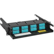 LC-MPO Fiber Optic Rack Mount Enclosure Pre-configured with 8 HD Cassettes with 192 10G Aqua Fibers