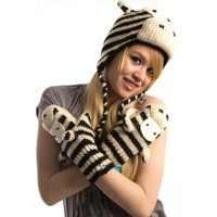 Delux Zebra Knitwits Mitts Black White Winter Warm Knitted Adult Youth Wool Gloves Knit Mittens Matching Pilot Hat