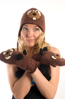 Delux Beaver Canadian Brown Warm Winter Gloves Wool Knit Mittens Knitwits