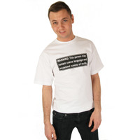 Grimm Warning Label Warning: This person may contain coarse language and occasional scenes of nudity tee Mens White Short Sleeve T Shirt