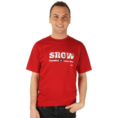 Grimm SNOW Canada's 4 Letter Word Mens Tee Red T Shirt Canadian Maple Leaf Top