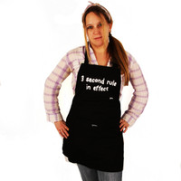 Grimm 3 Second Rule In Effect Black White Graffiti Text Adjustable Apron Humour Fun Funny LOL