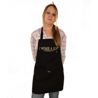 Grimm I Wine A Lot It Makes Me Feel Better Black Adjustable Apron Front Pocket