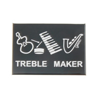 Grimm Treble Maker Trouble Guitar Snare Drum Keyboard Saxophone Music Musician Refrigerator Fridge Kitchen Magnet Canadian Humorous Funny Made in Canada