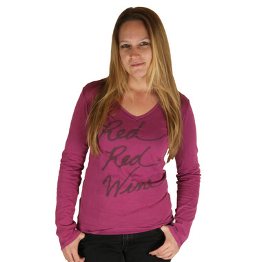 Life is Good Deep Magenta Red Red Wine Long Sleeve Tee Top Fitted Faded Lightweight T-Shirt