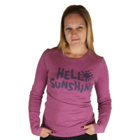 Life is Good Deep Magenta Airbrush Hello Sunshine Longsleeve Shirt Top Faded Ladies Long Sleeve