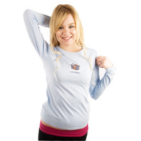 Life is Good Icy Light Blue Log Cabin Fever Snow Skis Longsleeve Long Sleeve Sugar Shirt Winter Ladies Top Front