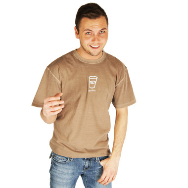 Life is Good Leather Brown Glass Half Full Cup T-Shirt Crusher Mens Tee Top Short Sleeve Shirt