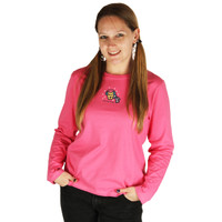 Life is Good Hot Pink Rocket Chilly Dog Long Sleeve Sleep Shirt Ladies PJ Top T-Shirt Snow Winter Scarf Earmuffs
