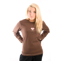 Life is Good Dark Chocolate Brown Sketchy Graffiti Heart Long Sleeve Sleep PJ Shirt Ladies Top