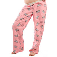 Life is Good Candy Pink Jackie Bubble Bath Tub Pajamas Bathtub Ladies Sleep Lounge Pants PJs Flannel Sleepwear