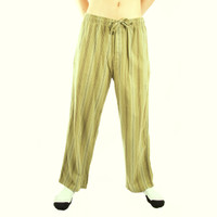 Life is Good Artichoke Green Striped Flannel Pajamas Sleep Lounge Pants Sleepwear PJs Mens Loungepants