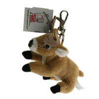"Stuffed Animal House 4"" Sitting White Tailed Deer Keychain Whitetailed Wild Zipper Pull Mini White-tailed Key Chain Tiny Soft Furry Fuzzy Clip Backpack Critter"