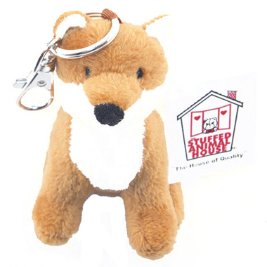 """Stuffed Animal House 3.5"""" Sitting Red Fox Keychain Wild Zipper Pull Mini Key Chain Tiny Soft Furry Fuzzy Clip Backpack Toy Critter"""