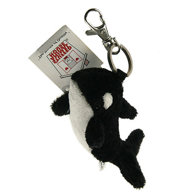 "Stuffed Animal House 4"" Swimming Killer Whale Keychain Ocean Sea Life Wild Zipper Pull Mini Key Chain Tiny Soft Furry Fuzzy Clip Backpack Critter"