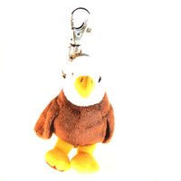 "Stuffed Animal House 2.75"" Eagle Maplefoot Keychain Wild Zipper Pull Mini Maple Leaf Key Chain Tiny Soft Furry Fuzzy Clip Backpack Critter Canadian Wildlife Sitting Standing"