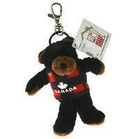 "Stuffed Animal House 4.25"" Standing Black Bear Flannel Plaid Vest Keychain Wild Zipper Pull Mini Maple Leaf Canada Key Chain Tiny Soft Furry Fuzzy Clip Backpack Critter Canadian Wildlife"