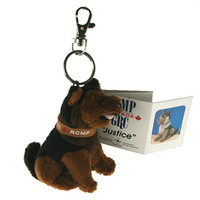 "Stuffed Animal House 4"" Sitting RCMP German Shepherd Dog Police Doggie Keychain Pup Zipper Pull Mini Key Chain Tiny Soft Furry Puppy Fuzzy Clip Backpack Critter Canadian Canada"