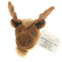 "Stuffed Animal House 2"" Brown Moose Head Fridge Refrigerator Locker Magnet Mini Magnetic Walltoy Wild Tiny Toy Small Soft Furry Fuzzy Antlers Plush Critter Canadian North American Wildlife"