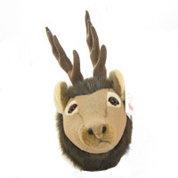 "Stuffed Animal House 7"" Brown Elk Junior Head Wall Toy Walltoy Small JR Wild Soft Furry Fuzzy Antlers Plush Critter Canadian North American Wildlife Hunting"