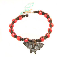 HOTI Hemp Handmade Black Bat Peruvian Ceramic Black Hemp Red Wood Beads Mens Bracelet Made in Canada Made in Toronto Made in Ontario 420 Tattoo Rocker Beaded Crow Beads Alligator Clip Roach Clip Clip It Clip Hand Crafted Toronto Ontario Canada