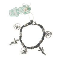 HOTI Hemp Handmade Black Classic Love Black Hemp Fancy Metal Beads Ladies Womens Charm Bracelet Hand Crafted Made in Canada Made in Toronto Made in Ontario Boho Chic Beaded Cupid Heart Winged Angel Charms Clasp-It Lobster Clasp Toronto Ontario Canada