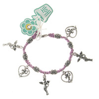 HOTI Hemp Handmade Pink Classic Love Pink Hemp Fancy Metal Beads Ladies Womens Charm Bracelet Made in Canada Hand Crafted Made in Toronto Made in Ontario Boho Chic Beaded Cupid Heart Winged Angel Charms Clasp It Lobster Clasp Toronto Ontario Canada