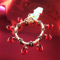 HOTI Hemp Handmade White Heart Love Rocks White Hemp Fancy Metal Spike Beads Ladies Womens Charm Bracelet Made in Canada Hand Crafted Made in Toronto Made in Ontario Boho Chic Beaded Pressed Glass Hearts Charms Clasp-It Lobster Clasp Rock Toronto Ontario Canada Canadian