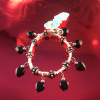 HOTI Hemp Handmade White Black Heart Love Rocks White Hemp Fancy Metal Spike Beads Ladies Womens Charm Bracelet Made in Canada Hand Crafted Made in Toronto Made in Ontario Boho Chic Beaded Pressed Glass Hearts Charms Clasp-It Lobster Clasp Rock Toronto Ontario Canada Canadian