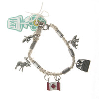 HOTI Hemp Handmade Oh Canada Natural Hemp Fancy Metal Beads Ladies Womens Charm Bracelet Made in Canada Hand Crafted Made in Toronto Made in Ontario Boho Chic Beaded Beer Bear Moose Flag Canoe Charms Clasp-It Lobster Clasp Canadian