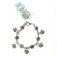 HOTI Hemp Handmade Duck Shoot Natural Hemp Fancy Metal Spiral Beads Ladies Womens Charm Bracelet Made in Canada Hand Crafted Made in Toronto Made in Ontario Boho Chic Beaded Duckie Charms Clasp-It Lobster Clasp Carnival Game
