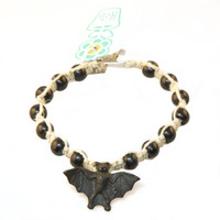 HOTI Hemp Handmade Black Bat Peruvian Ceramic Natural Hemp Black Wood Beads Mens Bracelet Hand Crafted in Toronto Made in Ontario Made in Canada Tattoo Rocker Beaded Crow Beads Alligator Clip Roach Clip Clip It 420 Clip Toronto Ontario Canada