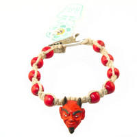 HOTI Hemp Handmade Red Devil Head Peruvian Ceramic Natural Hemp Red Wood Beads Mens Bracelet Hand Crafted Made in Toronto Made in Ontario Made in Canada Tattoo Rocker Beaded Crow Beads Alligator Clip Roach Clip Clip It 420 Clip Toronto Ontario Canada