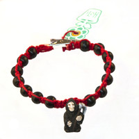 HOTI Hemp Handmade Grim Reaper Peruvian Porcelain Red Hemp Black Wood Beads Mens Bracelet Hand Crafted Made in Toronto Made in Ontario Made in Canada Boho Tattoo Rocker Beaded Crow Beads Alligator Clip Roach Clip Clip It Clip