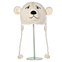 Delux Pee Wee Polar Bear Knitwits Animal Knit Pilot Hat Winter White Warm Ivory Wool Cute Fun