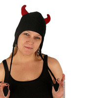 Delux Black Devil Red Horns Knitwits Knit Horny Pilot Horned Adult Hat Winter Warm El Diablo Satan Wool