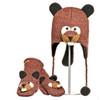 Delux Barkley Beaver KIDS Knitwits Animal Knit Brown Pilot Hat Winter Warm Knitted Wool Cute Fun Buck Teeth Beaver Tail Matching Mittens