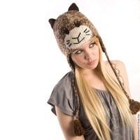 Delux Sock Kitty Cat Knitwits Animal Knit Brown Ivory Pilot Youth Adult Knitted Hat Winter Warm Wool Cute Fun